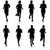 Set of silhouettes. Runners on sprint, men. Set of silhouettes Runners on sprint, men vector illustration Stock Photography