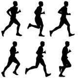 Set of silhouettes. Runners on sprint, men. Set of silhouettes Runners on sprint, men vector illustration Stock Photo