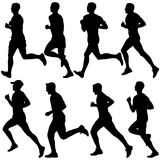 Set of silhouettes. Runners on sprint, men. vector illustration. Set of silhouettes. Runners on sprint men. vector illustration Stock Photo