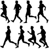 Set of silhouettes. Runners on sprint, men. vector illustration. Set of silhouettes Runners on sprint men vector illustration Stock Photos