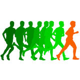 Set of silhouettes. Runners on sprint, men. vector illustration. Set of silhouettes Runners on sprint men vector illustration Royalty Free Stock Photography