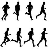 Set of silhouettes. Runners on sprint, men. vector illustration. Set of silhouettes Runners on sprint men vector illustration Royalty Free Stock Image
