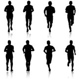 Set of silhouettes. Runners on sprint, men. vector illustration. Set of silhouettes Runners on sprint men vector illustration Royalty Free Stock Photos
