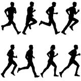 Set of silhouettes. Runners on sprint, men and woman.  Royalty Free Stock Photography