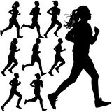 Set of silhouettes. Runners on sprint, men and woman.  Stock Photos