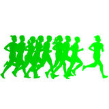 Set of silhouettes. Runners on sprint, men and woman.  Royalty Free Stock Photos