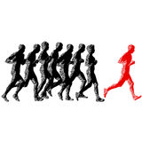 Set of silhouettes. Runners on sprint, men and woman.  Royalty Free Stock Images