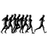 Set of silhouettes. Runners on sprint, men and woman.  Royalty Free Stock Photo
