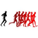 Set of silhouettes. Runners on sprint, men and woman.  Stock Images