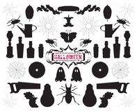 Set of silhouettes and shapes on Halloween theme vector Stock Photos