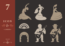 Set Silhouettes and Signs Flamenco. Set of  silhouettes and templates of flamenco on isolated background. Collection Icons of traditional Spanish dance. Signs of Stock Photography