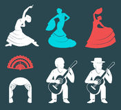 Set Silhouettes and Signs Flamenco. Set of  silhouettes and templates of flamenco isolated on a white background. Collection Icons of traditional Spanish dance Royalty Free Stock Photo