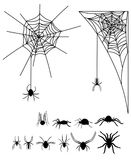A set of silhouettes of spiders and cobwebs. Collection of black silhouettes of spiders for Halloween. Poisonous insects. A set of silhouettes of spiders and Stock Image