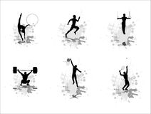 Set of silhouettes of sportsmen Royalty Free Stock Image