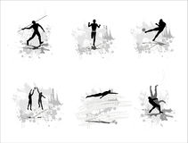 Set of silhouettes of sportsmen Stock Image