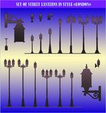 Set of silhouettes of street lanterns - vector Royalty Free Stock Photo