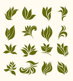Set silhouettes stylized leaves Stock Photos