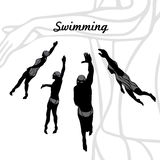 Set of Silhouettes of Swimmers vector Stock Photography
