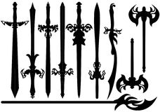 A set of silhouettes of swords. Stock Image