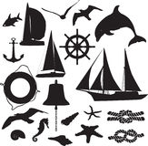 Set of silhouettes symbolizing the marine leisure. A set of black silhouettes symbolizing the marine leisure Stock Image