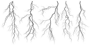 Set of silhouettes of thunderstorm lightning. Royalty Free Stock Photo