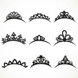 Set of silhouettes of tiaras of various shapes 1 Stock Photo