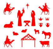 Scene of baby Jesus in the manger. royalty free illustration
