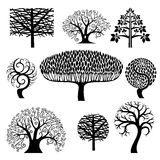 Set silhouettes of trees. Stock Images