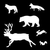 Set of silhouettes of wild animals. Royalty Free Stock Photos