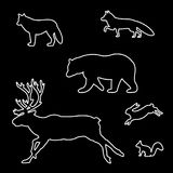 Set of silhouettes of wild animals. Royalty Free Stock Images