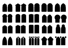 Set of silhouettes windows Royalty Free Stock Images