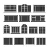 Set of silhouettes windows Stock Photos