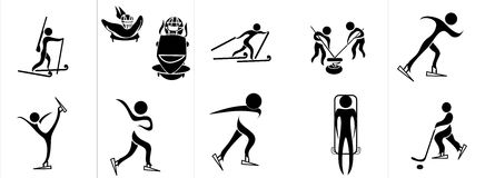 Set of silhouettes of winter sport Royalty Free Stock Photo