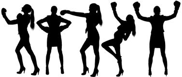 Set silhouettes of woman in boxing. Woman in suit and high heels with boxing gloves Royalty Free Stock Photography