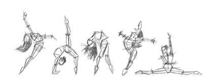 Set silhouettes of woman dancing line art. Dancing woman lineart sketch Stock Photo