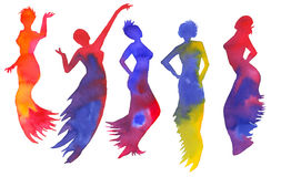 Set of silhouettes of women. Dancer isolated on white background. Watercolor illustration vector illustration