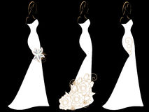 Set of silhouettes of women in wedding dresses. Stock Photography