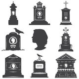 Set of silhouettes of womens graves gravestones monuments. Set of images of silhouettes of womens graves gravestones monuments. Female head silhouette on the Royalty Free Stock Photography