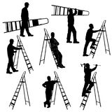 Set of silhouettes of worker with stepladder. Royalty Free Stock Photo