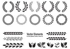 Set of silhouettes of wreaths Stock Images