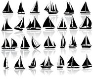 A set of  silhouettes of yachts. Isolated on white Royalty Free Stock Photos