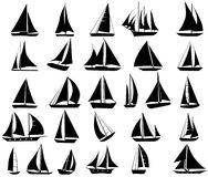 A set of  silhouettes of yachts. Isolated on white Royalty Free Stock Image