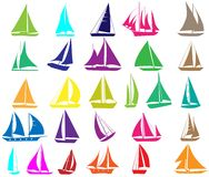 A set of  silhouettes of yachts. Isolated on white Stock Images