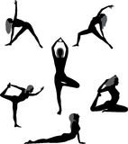 Set of silhouettes yoga asans Royalty Free Stock Image