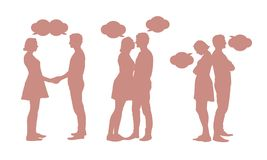 Set of silhouettes of young couple - men and women in different royalty free illustration
