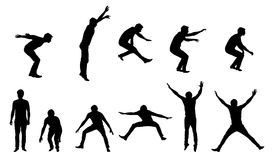 Set of  silhouettes of young man in motion and jumping, is Royalty Free Stock Photography