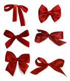 Set of silk red bows Stock Photo