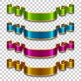 Silk ribbons set. Set of silk ribbons in different colors on transparent background. Vector illustration Stock Photos