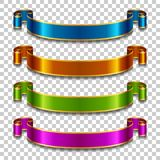 Silk ribbons set. Set of silk ribbons in different colors on transparent background. Vector illustration Royalty Free Stock Photos