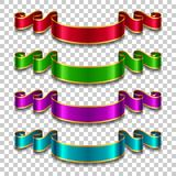 Silk ribbons set. Set of silk ribbons in different colors on transparent background. Vector illustration Stock Images